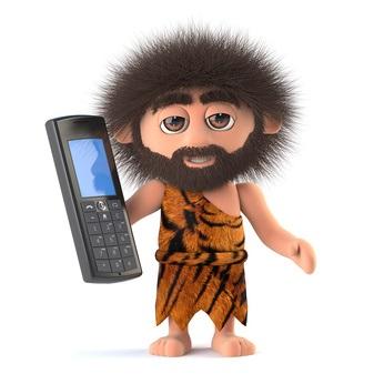 MenCan2 Caveman with Phone